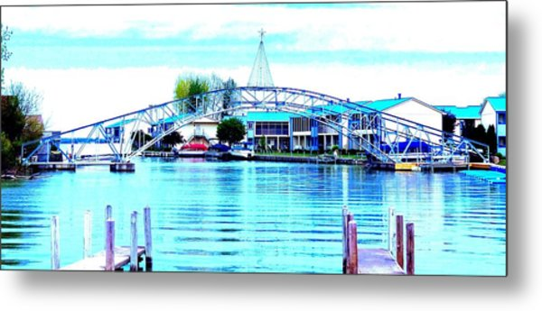 Sandy Beach Bridge Metal Print