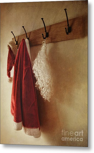 Santa Costume Hanging On Coat Rack Metal Print