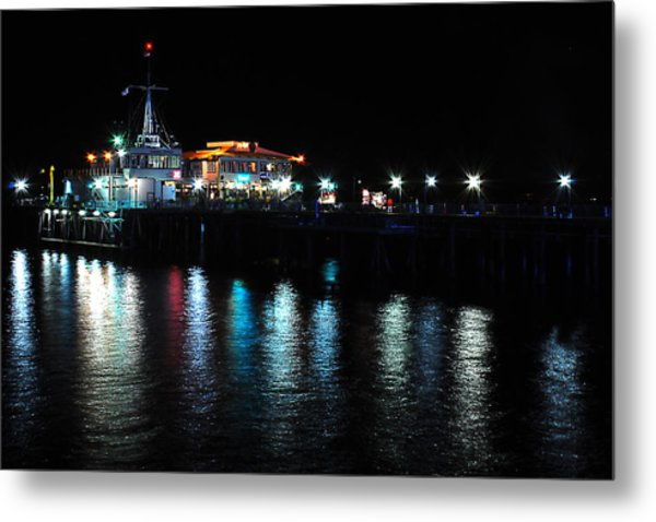 Santa Monica Pier After Dark Metal Print by Yulia