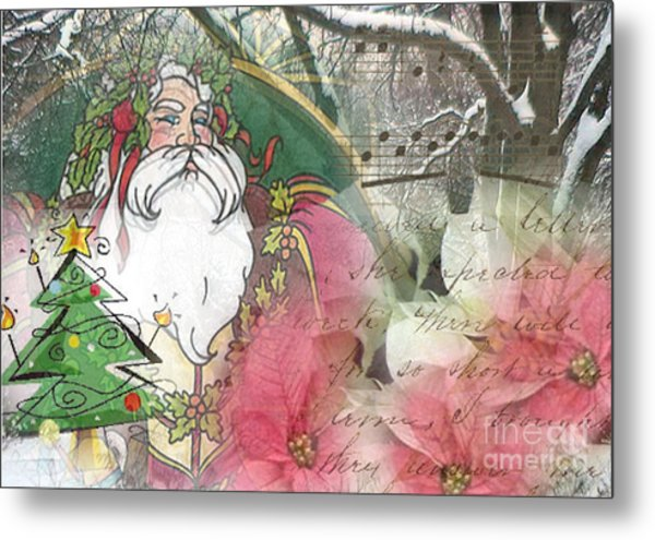 Santa's Snow Garden Metal Print