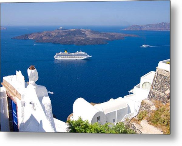 Santorini Cruising Metal Print