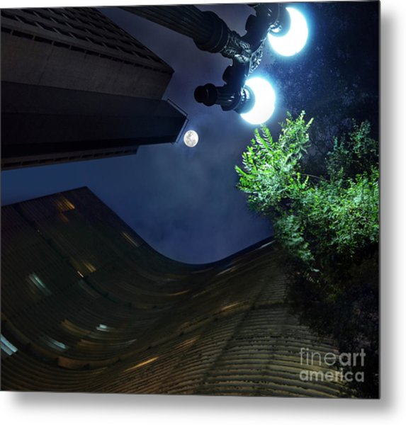 Copan Building And The Moonlight Metal Print