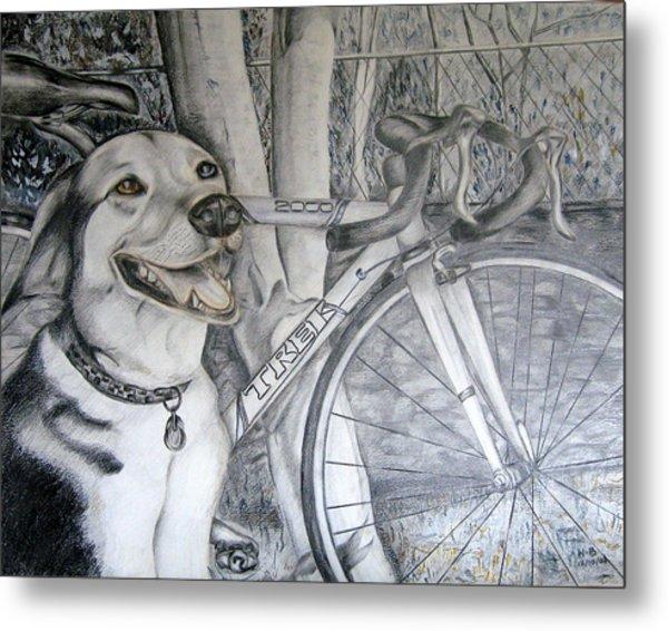 Sapphire And Bike Metal Print by HHolly Bazmi