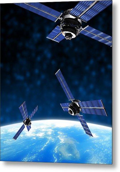 Satellites Orbiting Earth, Artwork Metal Print by Victor Habbick Visions