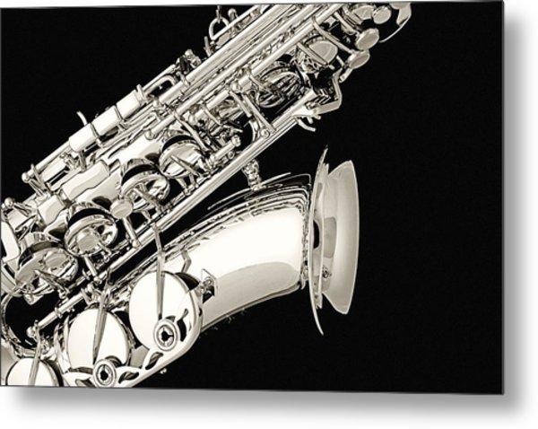 Saxophone Black And White Metal Print