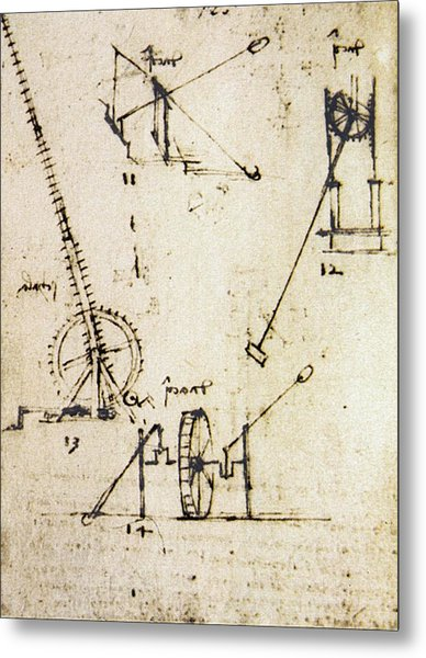 Scaling Ladder By Leonardo Da Vinci Metal Print by