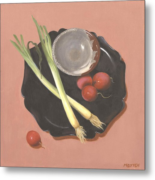 Scallions And Radishes Metal Print by Meredith Dytch