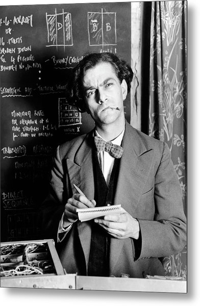 Scientist By Blackboard Covered In Equations (b&w) Metal Print by Hulton Archive