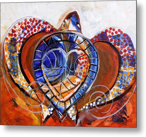 Sea Turtle Love - Orange And White Metal Print