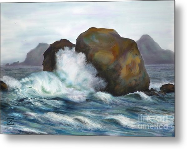 Seascape Rocks And Surf Metal Print by Judy Filarecki