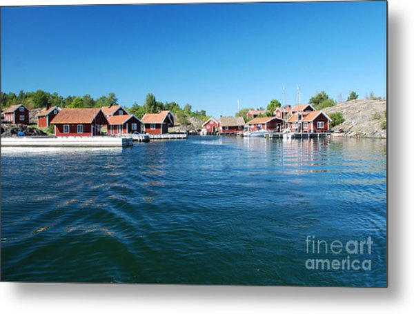 Seaside Red Cottage Metal Print by Conny Sjostrom
