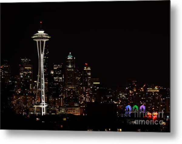 Seattle At Night Metal Print by Alan Clifford