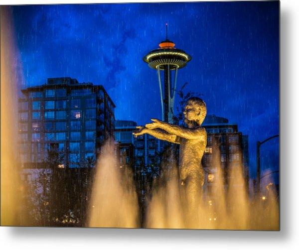 Seattle Rain Boy Metal Print