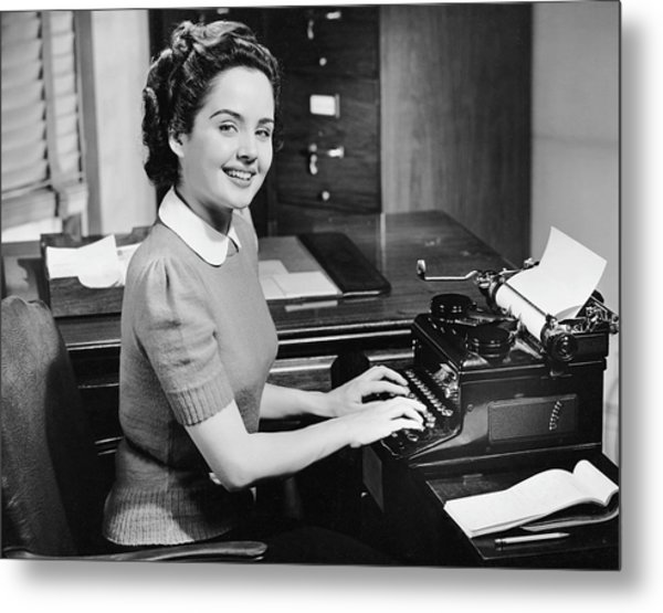Secretary Typing Metal Print by George Marks