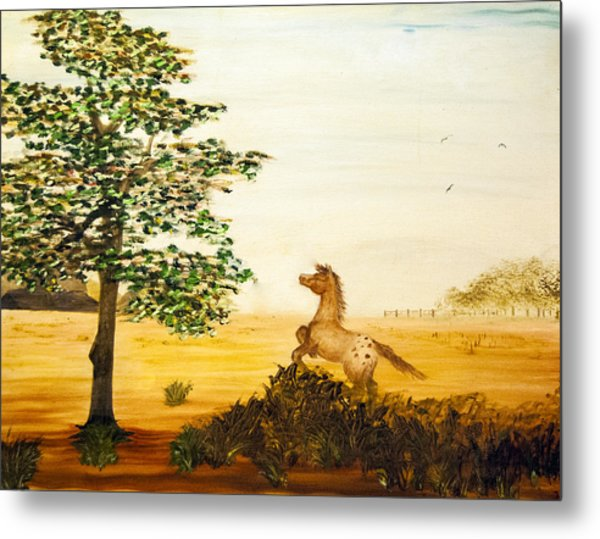 Metal Print featuring the painting See Spot Run by Judy Hall-Folde