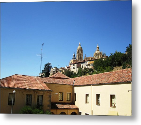 Segovia Castle Alcazar View Of Homes In The Hills Below With Blue Sky In Spain Metal Print