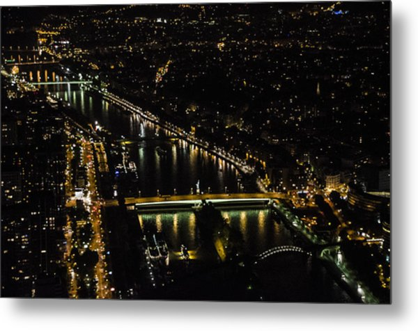 Seine River Atop The Eiffel Tower Metal Print
