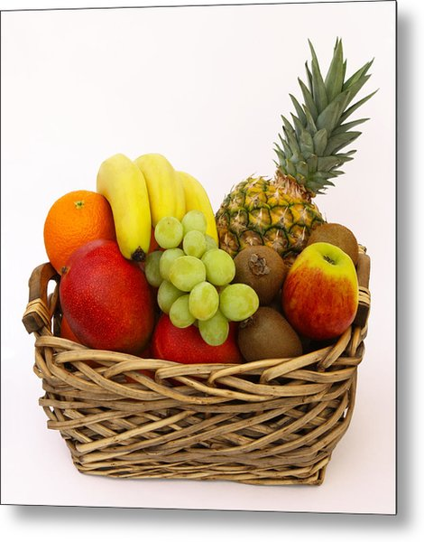 Selection Of Tempting Fresh Fruits In A Basket Metal Print by Rosemary Calvert