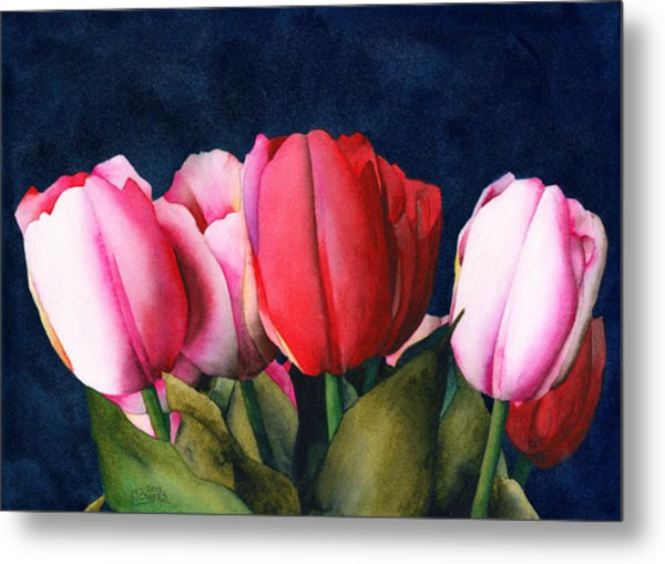 Metal Print featuring the painting Sennelier Tulips by Ken Powers