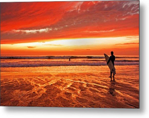 Sensational Sunset Surf Metal Print by Donna Pagakis