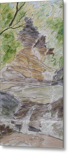 Set Rock Creek Falls - A Sketch Metal Print