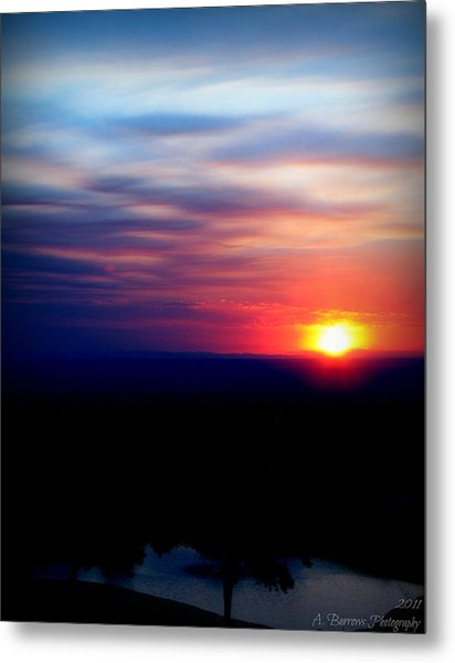 Setting Over The Pond Metal Print by Aaron Burrows