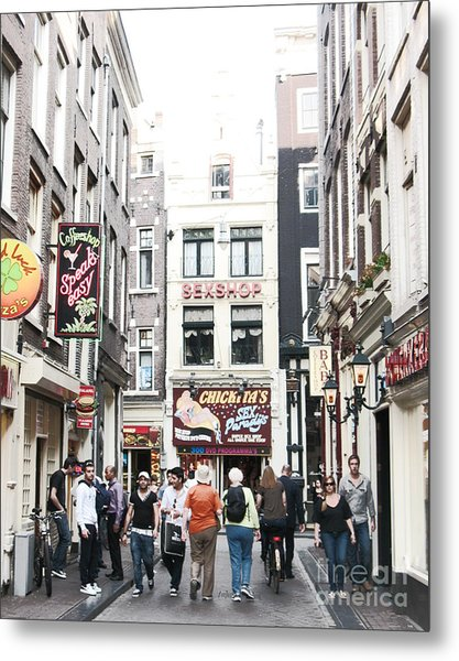 Sex And Coffee Shops In Amsterdam Metal Print by Trude Janssen