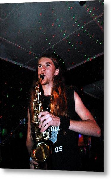 Sexy Sax Man Metal Print by Valerie McDougal