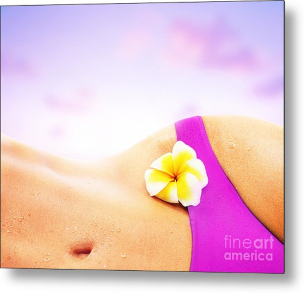 Sexy Woman Over Pink Beach Sunset Metal Print by Anna Om