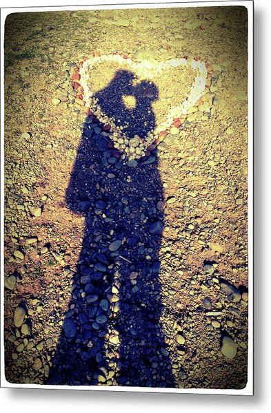 Shadows Of Couple Kissing Over Heart Of Stones Metal Print