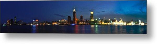 Shanghai Bund Panorama - Night Metal Print