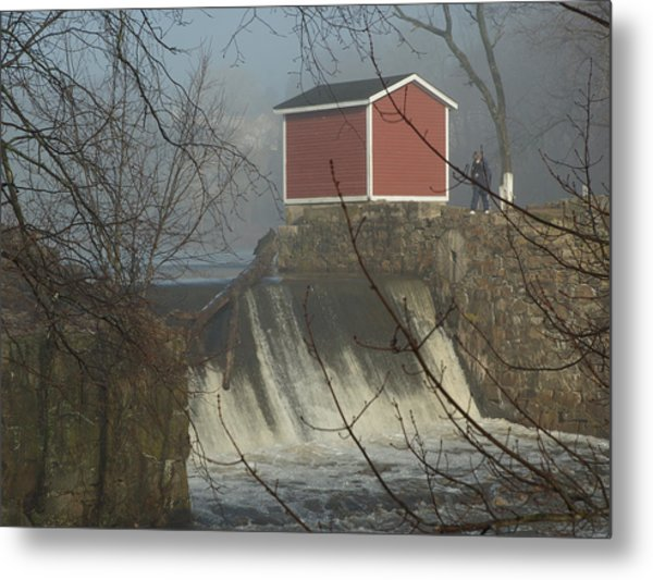 Shed By The Dam In Fog Metal Print