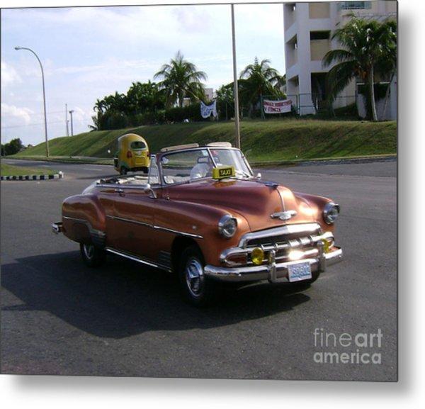 Shiny Cab At Varadero Beach Metal Print by Laurel Fredericks