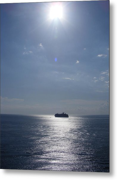 Ship In The Sea Metal Print by Charles Covington