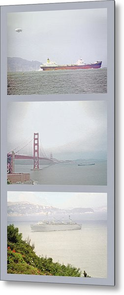 Shipping Triptych - San Francisco Bay Metal Print by Steve Ohlsen