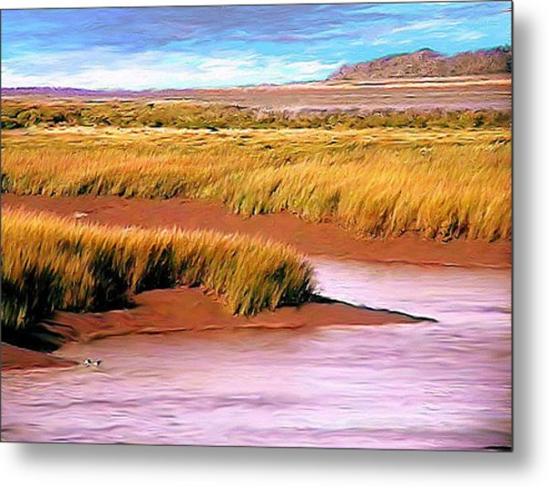 Shoreline Painting Wolfville Harbour Metal Print