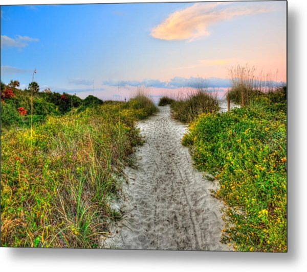 Shoreline Path To View Morris Island Lighthouse Metal Print by Jenny Ellen Photography