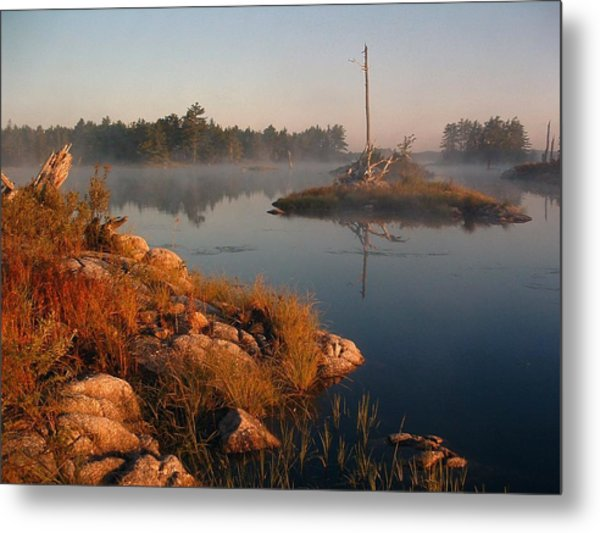 Shorelines Black  River Lake Metal Print