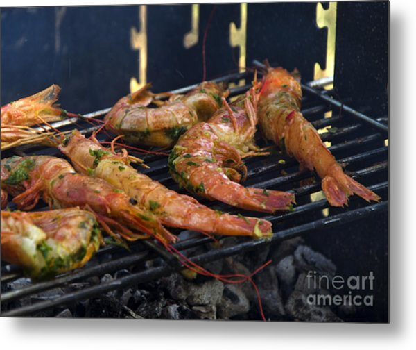 Shrimp On Bbq Metal Print by Perry Van Munster