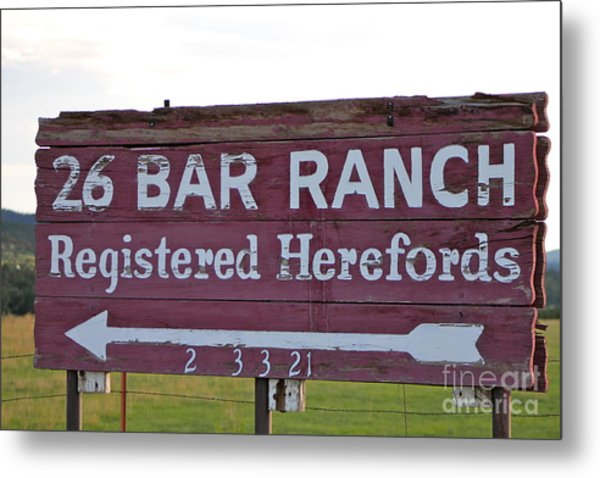Sign Of John Waynes Old Ranch Metal Print