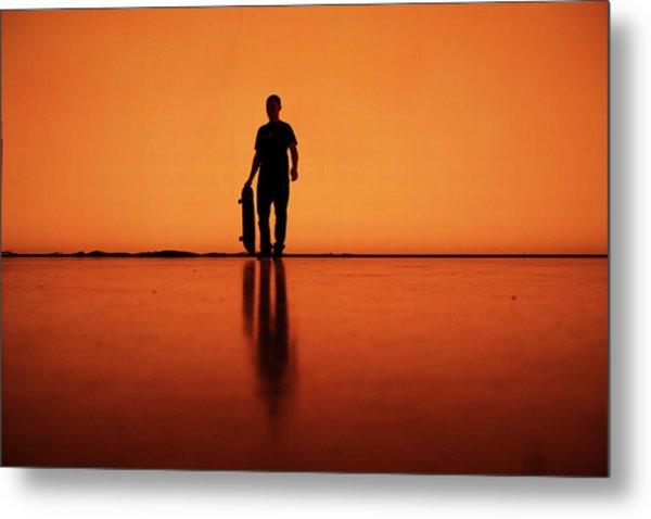 Silhouette Of Man With Skateboard, Berlin Metal Print by Atomare Aufruestung