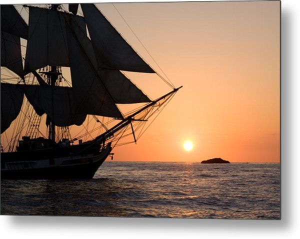 Silhouette Of Tall Ship At Sunset Metal Print