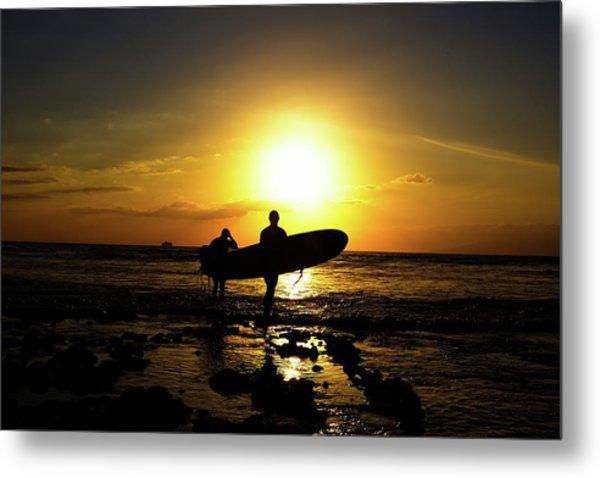 Silhouette Surfers Metal Print