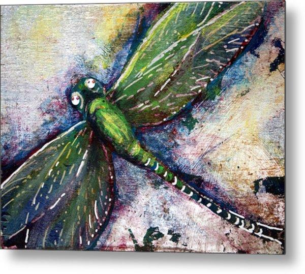 Silver Dragonfly Metal Print