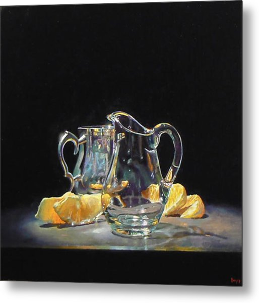 Silver Glass Oranges Metal Print by Jeffrey Hayes