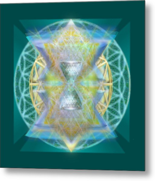 Silver Torquoise Chalice Matrix Subtly Lavender Lit On Gold N Blue N Green With Teal Metal Print