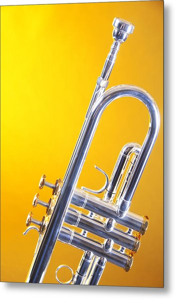 Silver Trumpet Isolated On Yellow Metal Print
