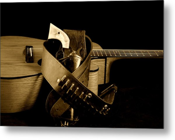 Six Gun In Holster And Guitar Metal Print