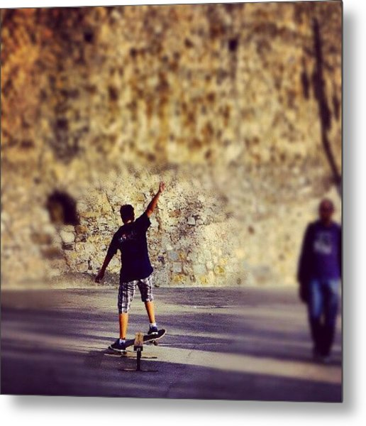 Skateboarding Metal Print