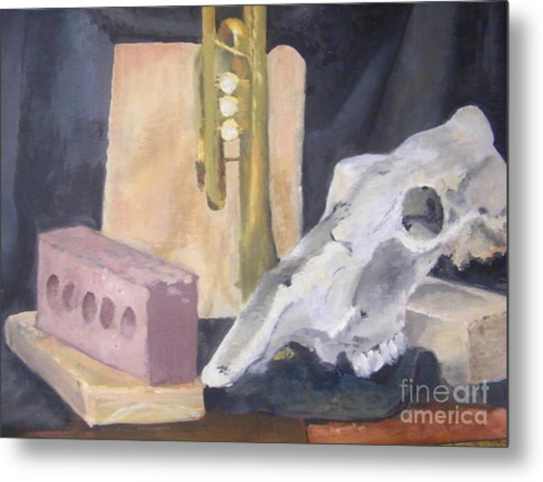 Skull And Brick Metal Print by Delores Swanson